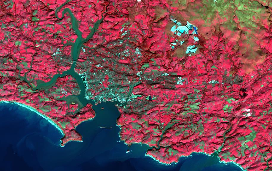 Draft Plymouth Landsat8 False Colour Composite